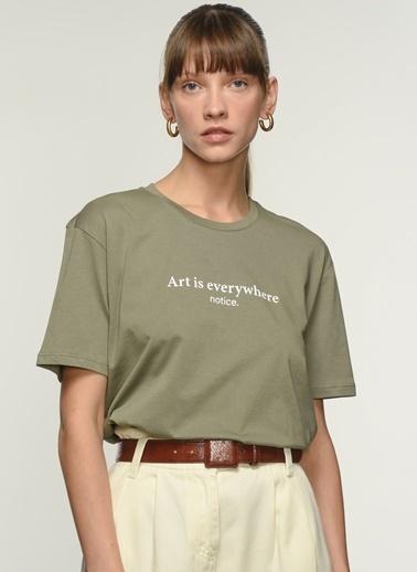 NGSTYLE Kadın Baskılı  Tişört NGKSS21TS0011 Haki